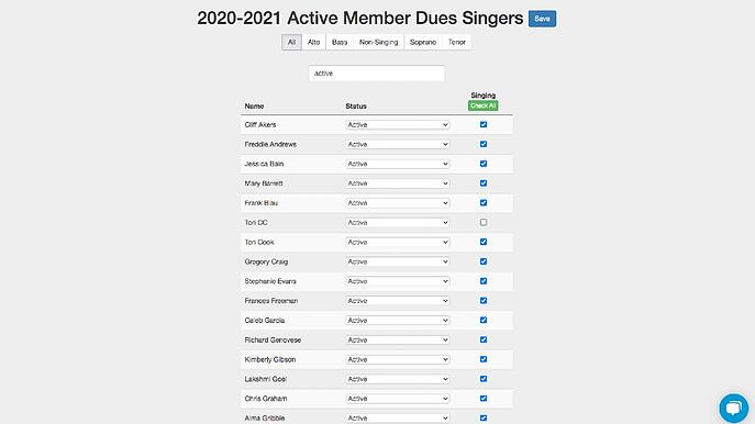 Attendance Roster in Chorus Connection